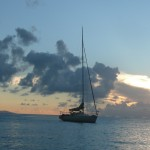 Picture of sailboat at anchor in Culebra, Puerto Rico.