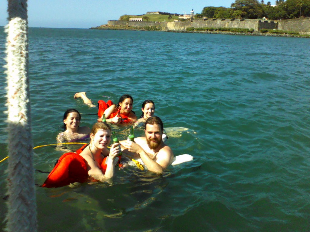 Cooling off in the water under El Morro