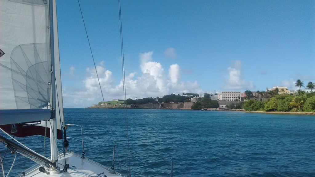 Sailing in San Juan Bay with new sail.